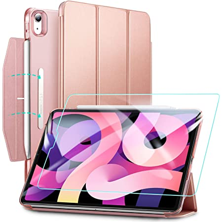 ESR iPad Air 4 ケース 2020 iPad 10.9インチ 半透明カバー 強化ガラスフィルム付き オートスリープ機能付き 第二世代Pencil ワイヤレス充電対応 三つ折りスマートケース 留め具付き ローズゴールド