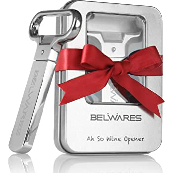 Belwares Ah-So Wine Opener - Two-Prong Cork Puller, Durable Stainless Steel with Sleek Case, Beer Opener - For Red & White Wine, Champagne Beer Opener
