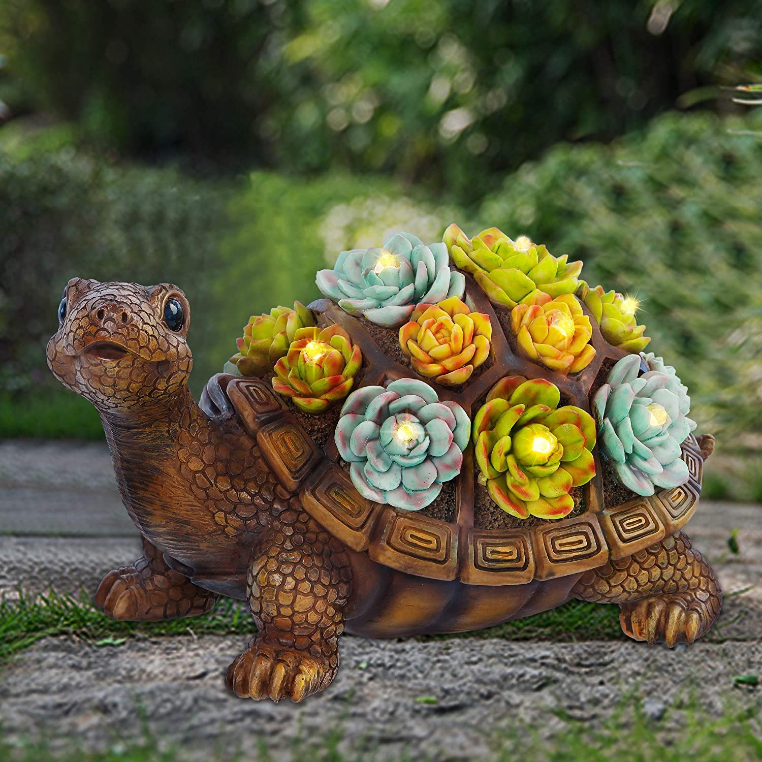 FORUP Turtle Garden Statue, Resin Turtle Figurine Garden Lawn Ornaments with Solar LED Lights for Outdoor Yard Garden Decorations