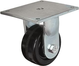 E.R. Wagner Plate Caster, Rigid, Phenolic Wheel, Roller Bearing, 500 lbs Capacity, 3