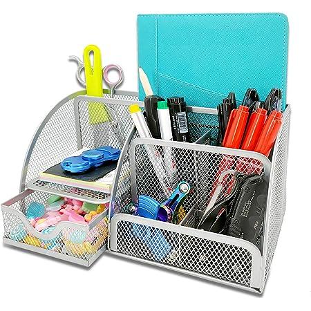 MDHAND Organisateur de bureau et accessoire, organisation de bureau en filet, organisateurs de bureau et rangement avec tiroir (Argent)