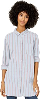 Goodthreads Amazon Brand Women's Lightweight Poplin Long-Sleeve Button-Front Tunic Shirt, Blue/Coral Dobby Stripe, XX-Large