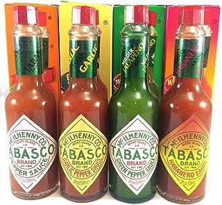 Tabasco Sauce Variety 4 Pack Original, Garlic, Green Pepper, Hababero