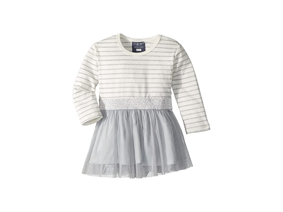Toobydoo Tulle Party Dress (Infant/Toddler/Little Kids/Big Kids) (Grey/White) Girl