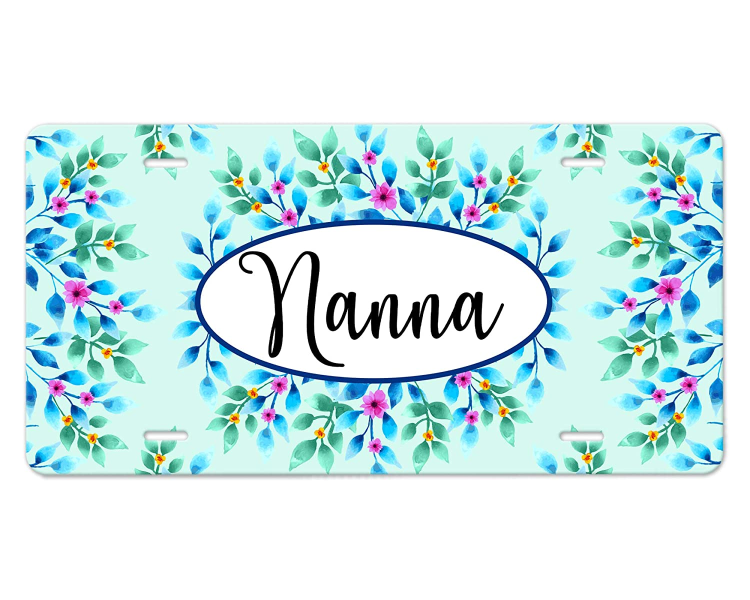 Custom Bargain sale Monogram Our shop OFFers the best service Front Vehicle Plate Blue Flowers Design Teal and
