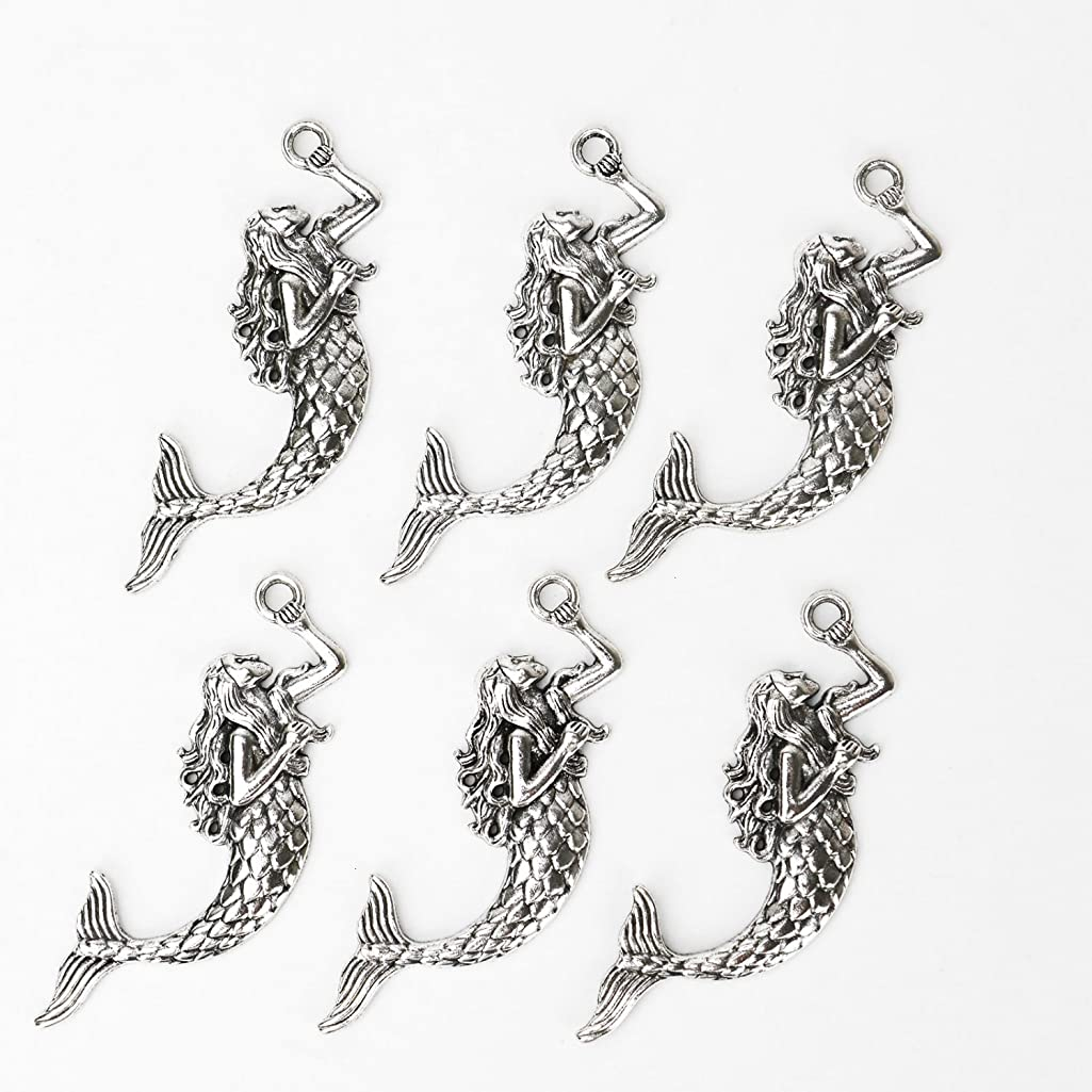 HUELE 16 pcs Antique Silver Mermaid Charms for Craft