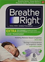 Breathe Right Nasal Strips Extra Clear, Instant Nasal Congestion Relief, Snoring Solution, Sensitive Skin, 3M Adhesive, Breathe Better, Sleep Better, Strong Hold 8 ct