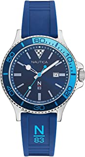 Nautica Men's Accra Beach Brass Plated Stainless Steel Quartz Silicone Strap, Blue, 20 Casual Watch (Model: NAPABS020)