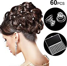 60 Pieces Rhinestone Crystal Twisters Set Spiral Hair Pin Silver Coil for Wedding, Bridal, Prom, Party and Special Occasion with Clear Container
