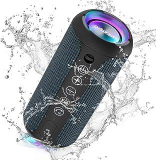 Ortizan Bluetooth スピーカー 防水IPX7 ワイヤレススピーカー お風呂適用 LEDライト付き 30時間連続再生 24W出力 小型 重低音 高音質 ポータブルスピーカー TWS対応でステレオ TFカード対応 USB充電 スマホ...