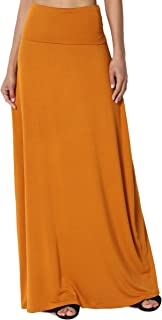 TheMogan S~XL Women's Casual Lounge Solid Draped Jersey Relaxed Long Maxi Skirt