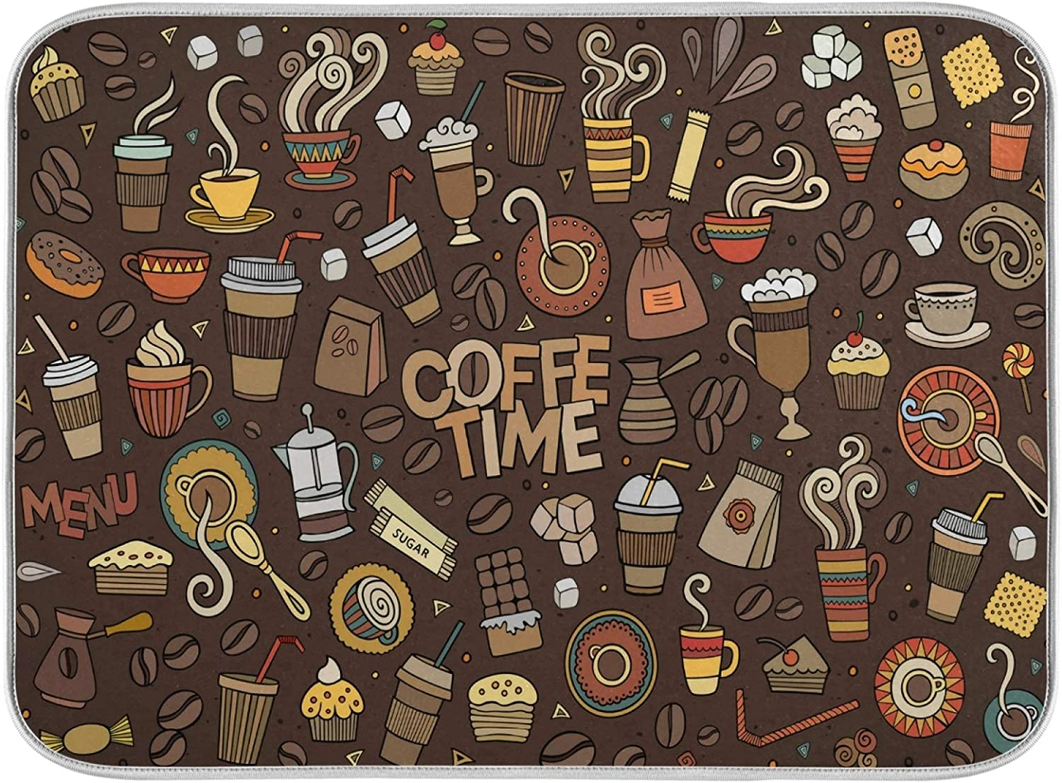 Oarencol Coffee Time Dish Drying Mat Absorbent Max 84% OFF Beans Max 53% OFF Brown Cups