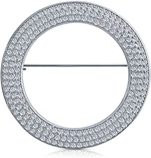Bridal Eternity Cubic Zirconia Pave AAA CZ Scarf Round Circle Brooch Pin for Women for Wedding Silver Plated Brass