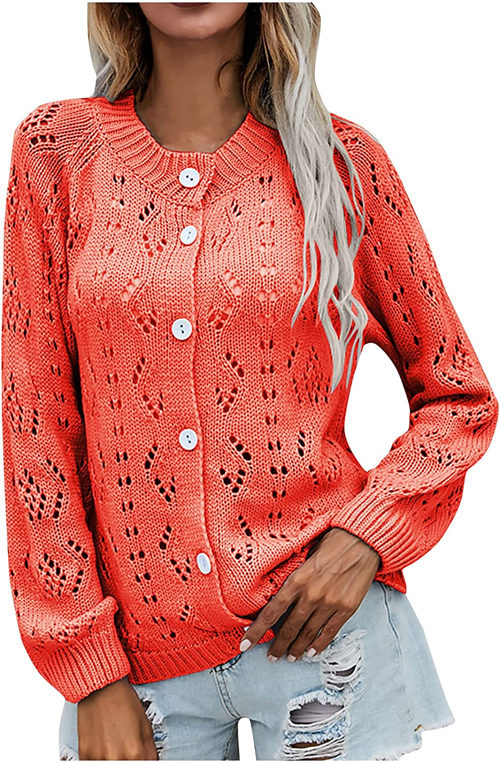 Womens Solid Knit Sweater Tops Long Sleeve Hollow Out Casual Outwear Open Front Cardigan Coat