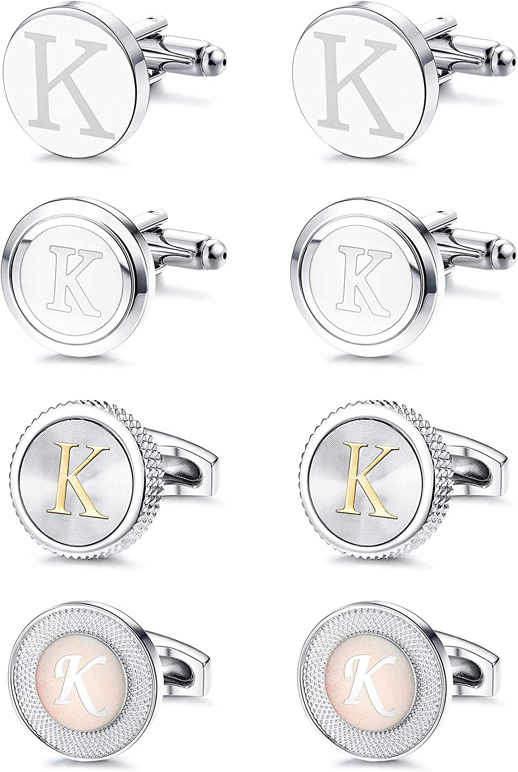 FIBO STEEL Limited time trial price 4 Selling and selling Pairs Mens Letter Engraved Shirts Initial Cufflinks