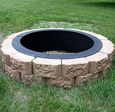 Sunnydaze Fire Pit Ring - Heavy Duty 2mm Think Steel Rim - DIY Above or In-Ground Liner - 42 Inch Outside x 36 Inch Inside -