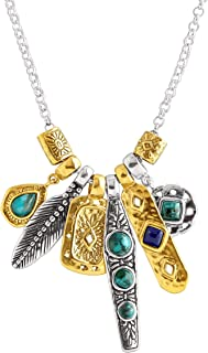 Silpada 'Shore Thing' Compressed Turquoise & Natural Lapis Charm Necklace in Sterling Silver & Brass