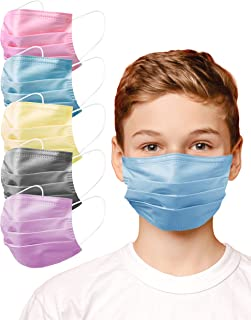 100 PC - Unisex Kids 3-Layers Single Use Disposable Face Mask with Elastic Earloop