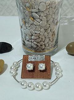 Conjunto de pulsera y pendientes de plata y de perla de nácar. Adaptables 18,5 cm a 19,5 cm