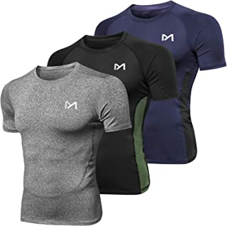 MEETYOO Men's Compression Tops, Running Shirt Short Sleeve T-shirt Quick Dry Base Layer Top for Gym Sports Fitness Workout