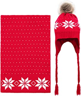 Women Lady Winter Warm Knitted Snowflake Hat Gloves and Scarf Winter Set