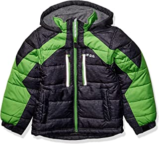 LONDON FOG Boys' Big Active Puffer Jacket Winter Coat, Super Black, 14/16