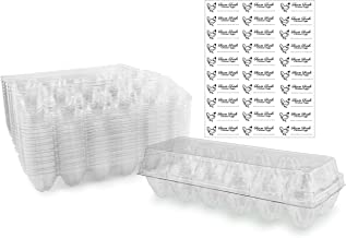 Clear Plastic Egg Cartons (20-Pack); Tri-Fold Containers for One Dozen Eggs