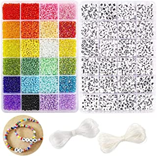 Shotbest Portable Bracelet Making Beads Kit,28 Color Thread 11 Grid Letter Beads,Hand-Knitted Cross-Stitch Kit Convenient for Adults or Kids
