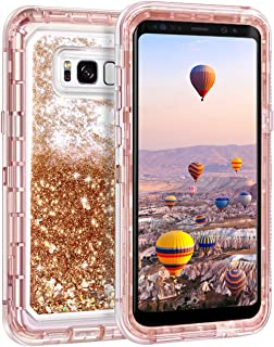 Coolden Case for Galaxy S8 Case Protective Glitter Case for Women Girls Cute Floating Liquid 3D Quicksand Heavy Duty Hard Shell Shockproof TPU Case for Samsung Galaxy S8, Light Coffee