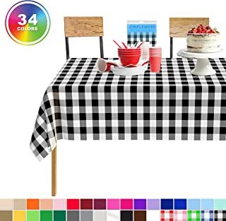 Black Checkered Gingham 1 Pack Standard Disposable Plastic Party Tablecloth 54 Inch. x 108 Inch. Rectangle Checkered Racing Flag Table Cover By Zimpleware