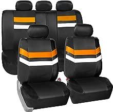 FH Group Leather Full Set Seat Covers Orange Airbag Safe PU006ORANGE115 & Split Bench Ready