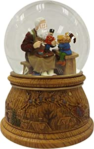 Musicbox Kingdom Snow Globe with a Rotating Scene with Santa and a Gnome in His Workshop Plays a Christmas Melody Decorative Item
