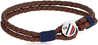 TOMMY HILFIGER MENS BROWN BUTTON LEATHER BRACELET - 2790196S