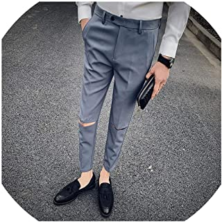Gentlemen Casual Pants Men Hole Solid Suit Pant Dress Suit Pant Sale Slim Fit Trousers Men Clothes