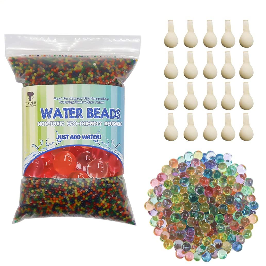 TOAOB 50000 Water Beads Non-Toxic Jelly Balls Water Gel Beads 20 Balloons for Vases Plant Home Decor and Spa Refill