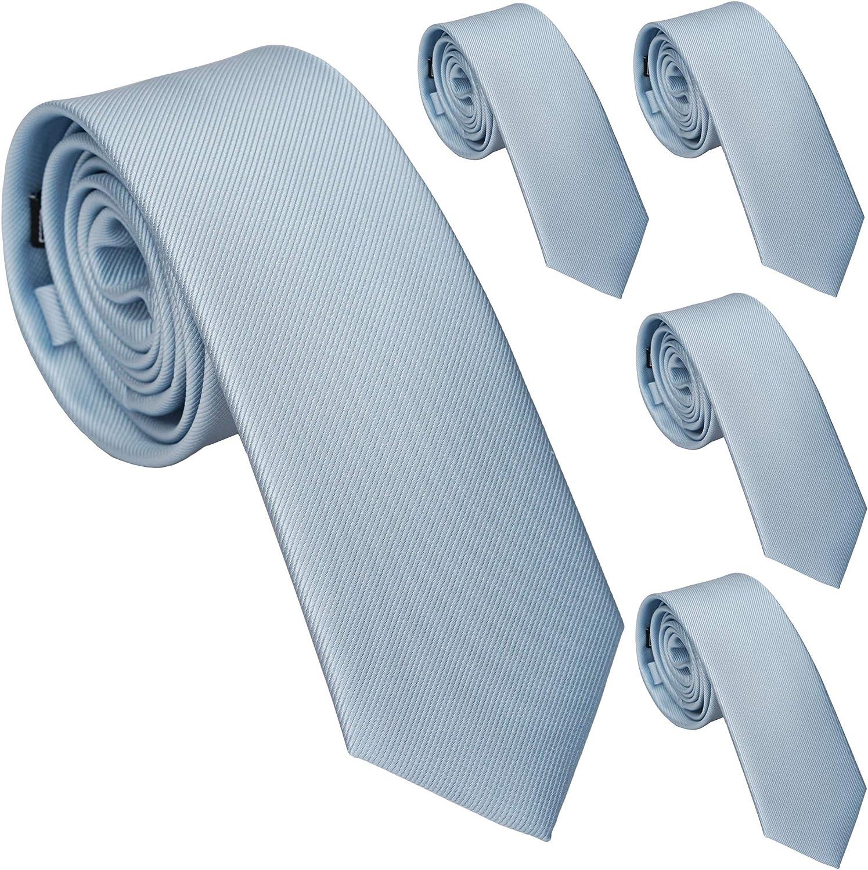 ZENXUS Skinny Ties for Men, Solid Color 2.5 inch Slim Neckties 1 or 5 Pack Plain Tie