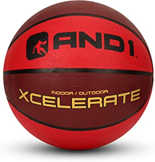 """AND1 Xcelerate Rubber Basketball: Game Ready, Official Regulation Size 7 (29.5"""") Streetball, Made for Indoor/Outdoor Basketball Games- Two Tone Collection (Red/Red), Red Two-Tone (A1-BB702R)"""