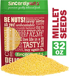 Sincerely Nuts Raw Hulled Millet Seeds (2lbs bag) | Gluten Free Grain for Flour, Cooking, Beer Making and Bird Seed | Easy to Digest Superfood | Kosher & Vegan Friendly Protein