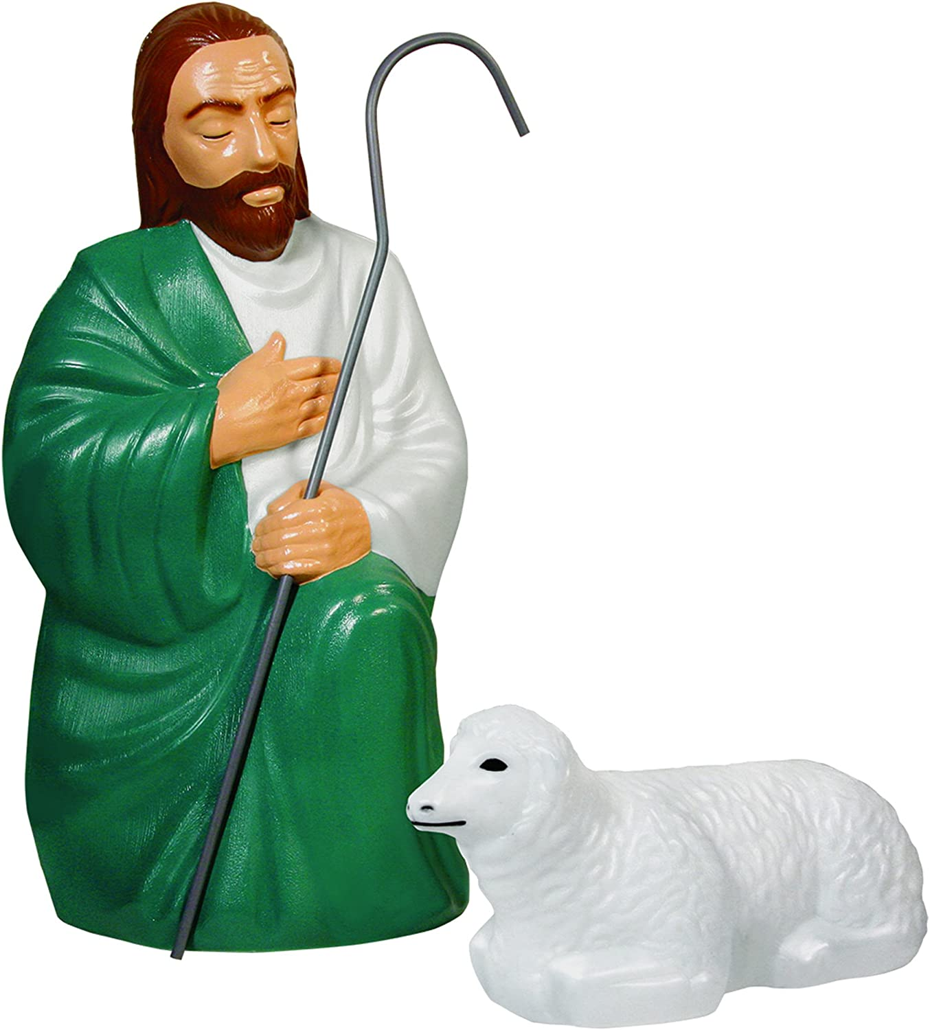 Nativity Scene Shepherd And Sheep With Lights Garden Outdoor