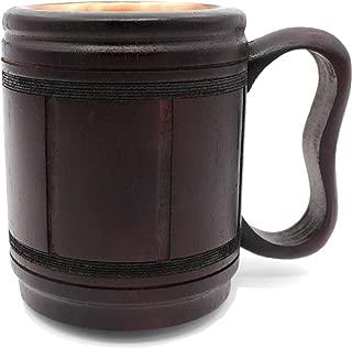 5MoonSun5's Handmade wooden Beer Mug copper Cup Carved Natural Beer Stein Old-Fashioned Barrel Brown Vintage Bar accessories - Wood Carving Beer Mug Great Retro Design Beer Tankard for Men 16oz,