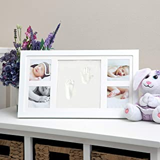 Nuby Baby Hand & Footprint Kit with Frame That Holds Four 3 x 3 Photos & 1 Clay Print Kit for Newborn Girls & Boys, Person...