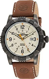 Timex Mens Quartz Watch, Analog Display And Leather Strap - T49990