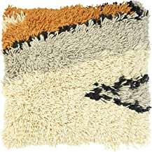 Creative Co-Op Square Wool Shag Pattern Pillow, Multicolor