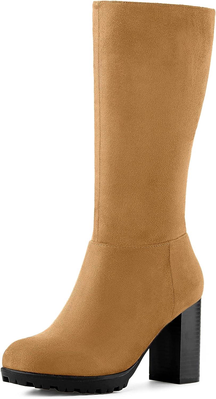 Allegra K ご予約品 Women's Mid Boots Calf 直送商品 Heel Block