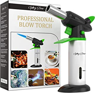 Spicy Dew Blow Torch - Creme Brulee Torch - Refillable Professional Culinary Kitchen Torch with Safety Lock and Adjustable Flame - Micro Butane Torch with Fuel Gauge - Cooking Food Torch