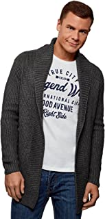 oodji Ultra Men's No Closure Cardigan with Shawl Collar