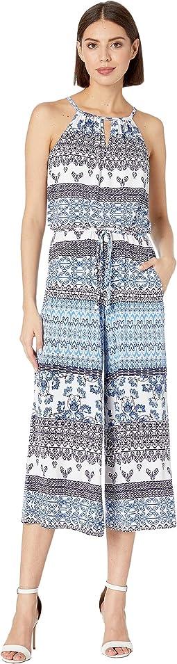 Halter Neck Printed Full-Length Jersey Jumpsuit