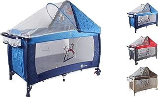"""Clamaro """"Dream Traveler"""" Kinder Baby Reisebett 6 Farben zusammenklappbar, höhenverstellbar, Kinderreisebett mit Einhang, Faltmatratze 2cm dick, Moskitonetz, Wickelauflage - Farbe: blau"""