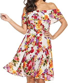 Womens Flower Print Dress Off Shoulder Ruffle A line Beach Dress