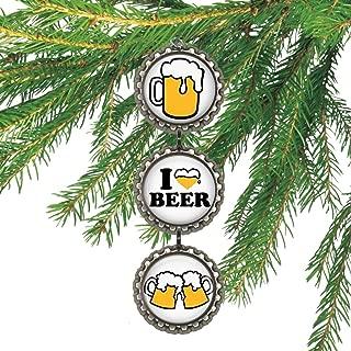 I Love Beer Bottle cap Christmas Ornament